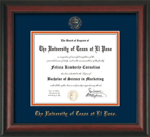Image of University of Texas - El Paso Diploma Frame - Rosewood - w/UTEP Embossed Seal & Name - Navy on Orange mat