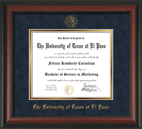 Image of University of Texas - El Paso Diploma Frame - Rosewood - w/UTEP Embossed Seal & Name - Navy Suede on Gold mat