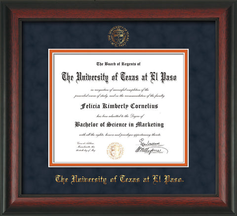 Image of University of Texas - El Paso Diploma Frame - Rosewood - w/UTEP Embossed Seal & Name - Navy Suede on Orange mat