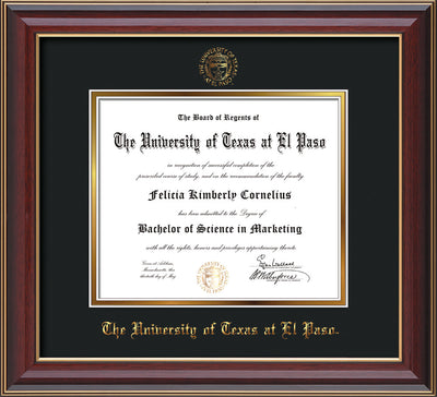 Image of University of Texas - El Paso Diploma Frame - Cherry Lacquer - w/UTEP Embossed Seal & Name - Black on Gold mat