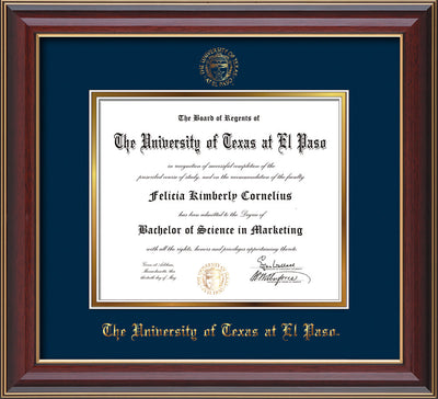 Image of University of Texas - El Paso Diploma Frame - Cherry Lacquer - w/UTEP Embossed Seal & Name - Navy on Gold mat