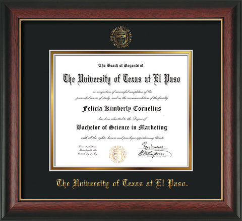 Image of University of Texas - El Paso Diploma Frame - Rosewood w/Gold Lip - w/UTEP Embossed Seal & Name - Black on Gold mat