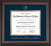 Image of University of Texas - El Paso Diploma Frame - Rosewood w/Gold Lip - w/UTEP Embossed Seal & Name - Navy on Gold mat