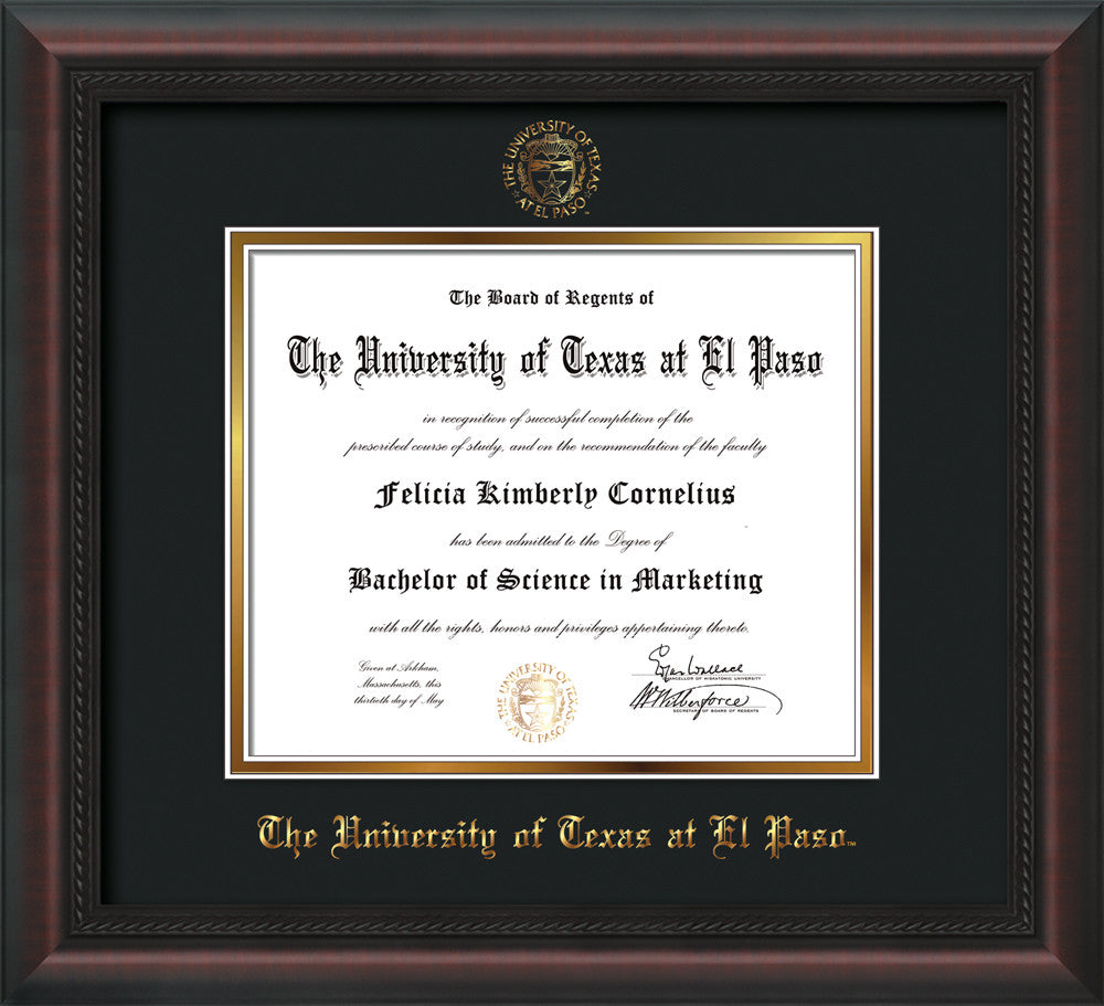 U. Texas El Paso Diploma Frame-Mahogany Braid-UTEP Seal-Black on ...