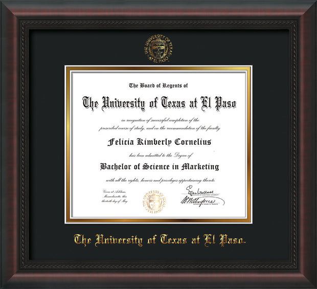 Image of University of Texas - El Paso Diploma Frame - Mahogany Braid - w/UTEP Embossed Seal & Name - Black on Gold mat