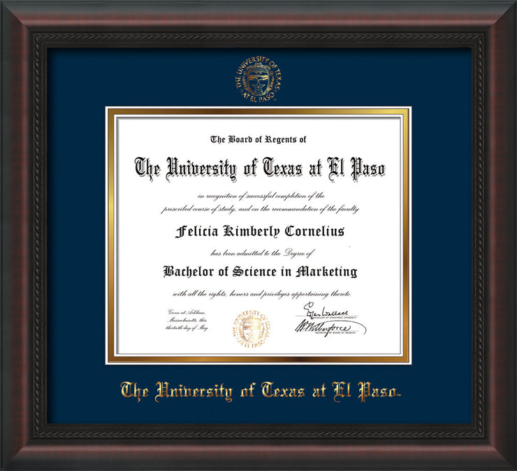 Image of University of Texas - El Paso Diploma Frame - Mahogany Braid - w/UTEP Embossed Seal & Name - Navy on Gold mat