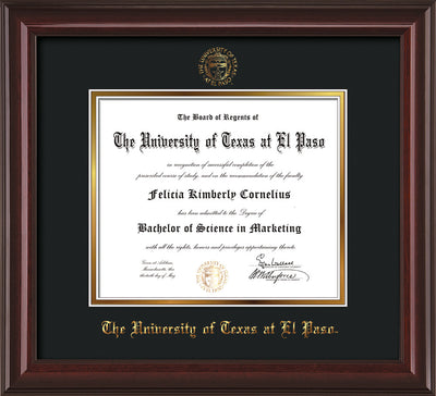 Image of University of Texas - El Paso Diploma Frame - Mahogany Lacquer - w/UTEP Embossed Seal & Name - Black on Gold mat