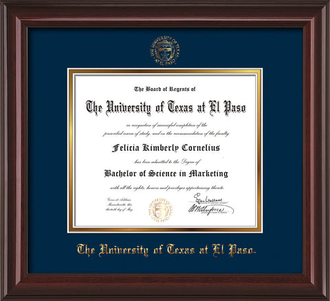 Image of University of Texas - El Paso Diploma Frame - Mahogany Lacquer - w/UTEP Embossed Seal & Name - Navy on Gold mat