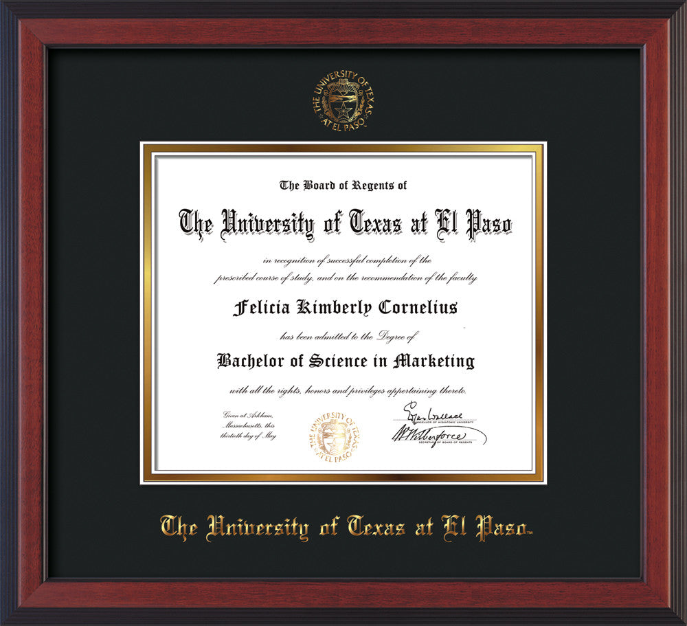 University Of Texas At El Paso Diploma Frames Custom