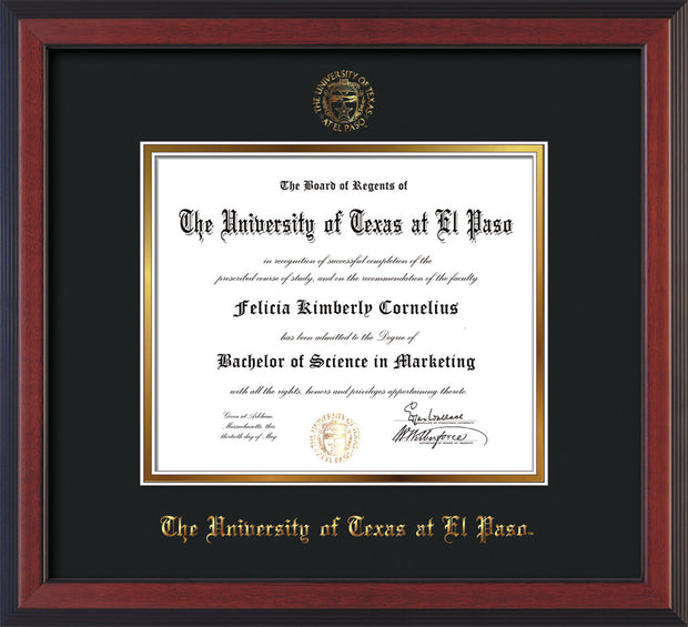 Image of University of Texas - El Paso Diploma Frame - Cherry Reverse - w/UTEP Embossed Seal & Name - Black on Gold mat