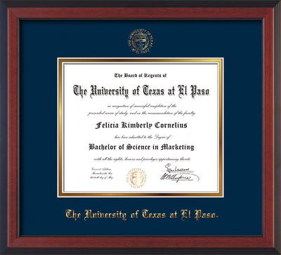 Image of University of Texas - El Paso Diploma Frame - Cherry Reverse - w/UTEP Embossed Seal & Name - Navy on Gold mat