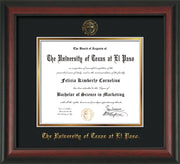 Image of University of Texas - El Paso Diploma Frame - Rosewood - w/UTEP Embossed Seal & Name - Black on Gold mat