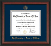 Image of University of Texas - El Paso Diploma Frame - Rosewood - w/UTEP Embossed Seal & Name - Navy on Gold mat