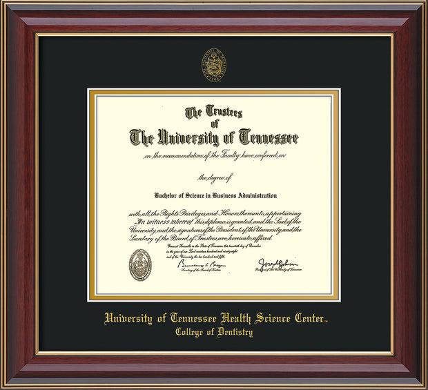 Image of University of Tennessee Health Science Center - Cherry Lacquer - w/UT Seal & College of Dentistry Name - Black on Gold Mat