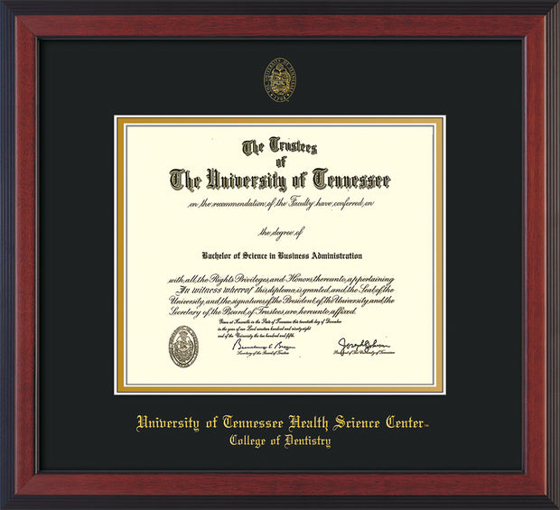 Image of University of Tennessee Health Science Center - Cherry Reverse - w/UT Seal & College of Dentistry Name - Black on Gold Mat