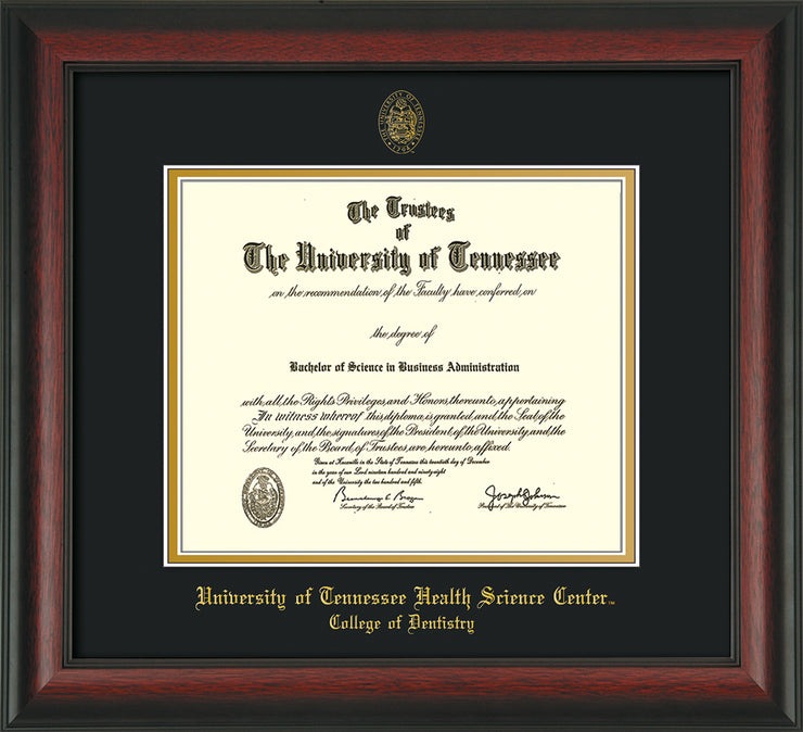 Image of University of Tennessee Health Science Center - Rosewood - w/UT Seal & College of Dentistry Name - Black on Gold Mat