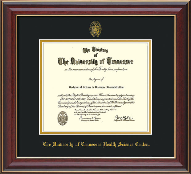 Image of University of Tennessee Health Science Center Diploma Frame - Cherry Lacquer - w/UT Embossed Seal & UTHSC Name - Black on Gold Mat
