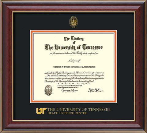 Image of University of Tennessee Health Science Center Diploma Frame - Cherry Lacquer - w/UT Embossed Seal & UTHSC Wordmark - Black on Orange Mat