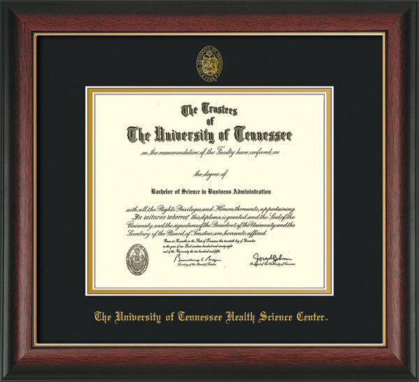 Image of University of Tennessee Health Science Center Diploma Frame - Rosewood w/Gold Lip - w/UT Embossed Seal & UTHSC Name - Black on Gold Mat