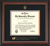 Image of University of Tennessee Health Science Center Diploma Frame - Rosewood w/Gold Lip - w/UT Embossed Seal & UTHSC Wordmark - Black on Orange Mat