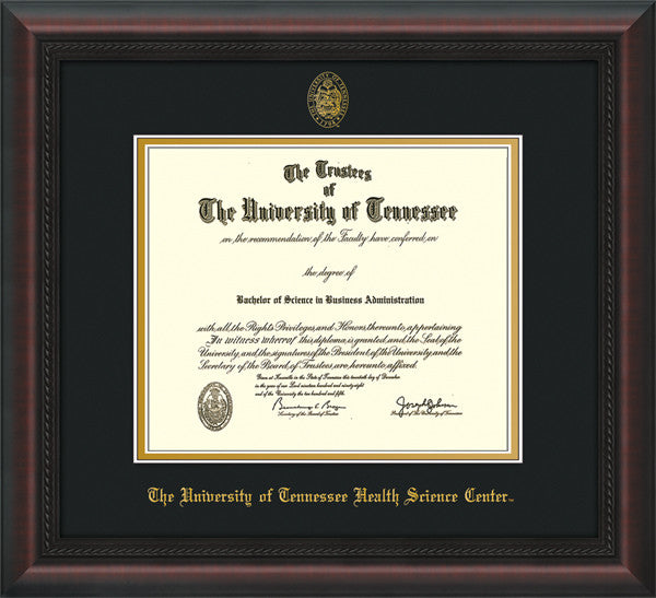 Image of University of Tennessee Health Science Center Diploma Frame - Mahogany Braid - w/UT Embossed Seal & UTHSC Name - Black on Gold Mat