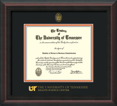 Image of University of Tennessee Health Science Center Diploma Frame - Mahogany Braid - w/UT Embossed Seal & UTHSC Wordmark - Black on Orange Mat