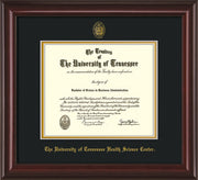 Image of University of Tennessee Health Science Center Diploma Frame - Mahogany Lacquer - w/UT Embossed Seal & UTHSC Name - Black on Gold Mat