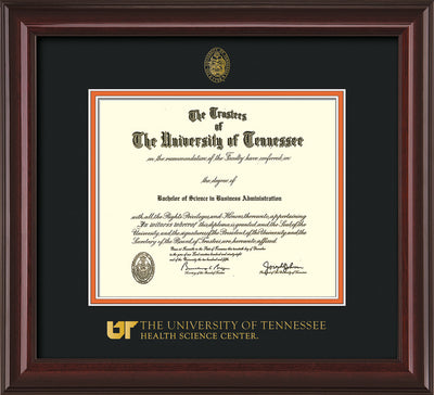 Image of University of Tennessee Health Science Center Diploma Frame - Mahogany Lacquer - w/UT Embossed Seal & UTHSC Wordmark - Black on Orange Mat