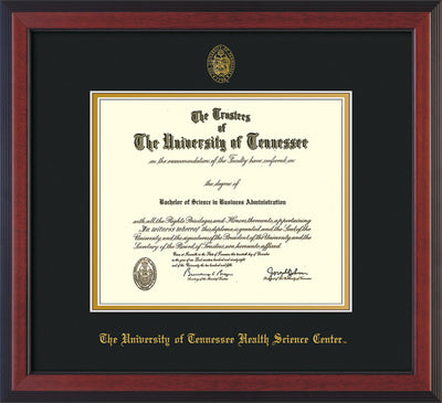 Image of University of Tennessee Health Science Center Diploma Frame - Cherry Reverse - w/UT Embossed Seal & UTHSC Name - Black on Gold Mat