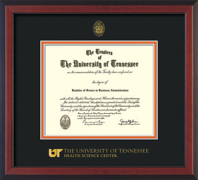 Image of University of Tennessee Health Science Center Diploma Frame - Cherry Reverse - w/UT Embossed Seal & UTHSC Wordmark - Black on Orange Mat