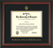 Image of University of Tennessee Health Science Center Diploma Frame - Rosewood - w/UT Embossed Seal & UTHSC Name - Black on Gold Mat