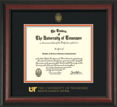 Image of University of Tennessee Health Science Center Diploma Frame - Rosewood - w/UT Embossed Seal & UTHSC Wordmark - Black on Orange Mat