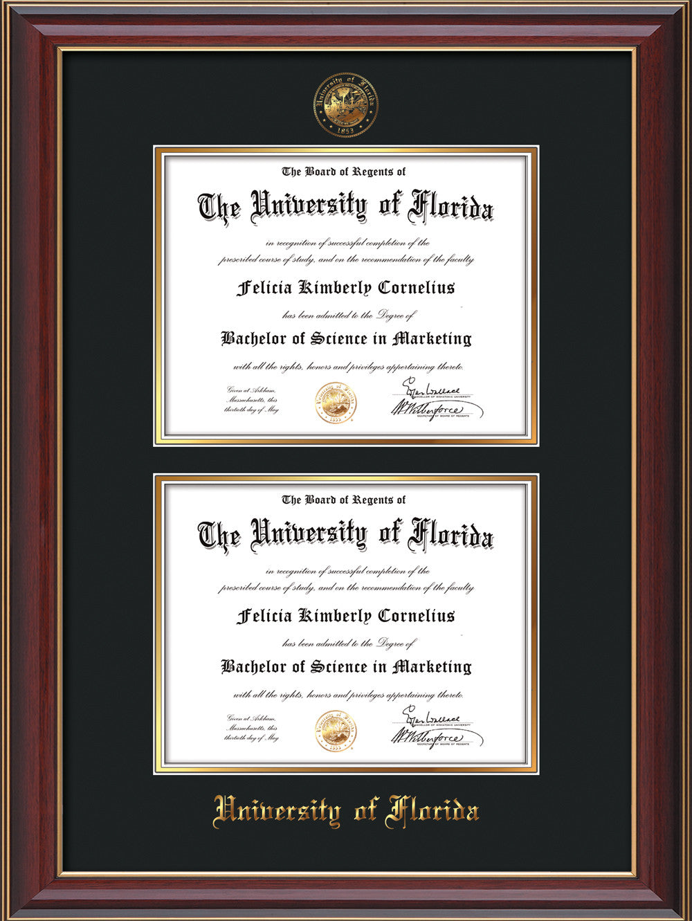 University Of Florida Diploma Frame C Reverse Double Blue
