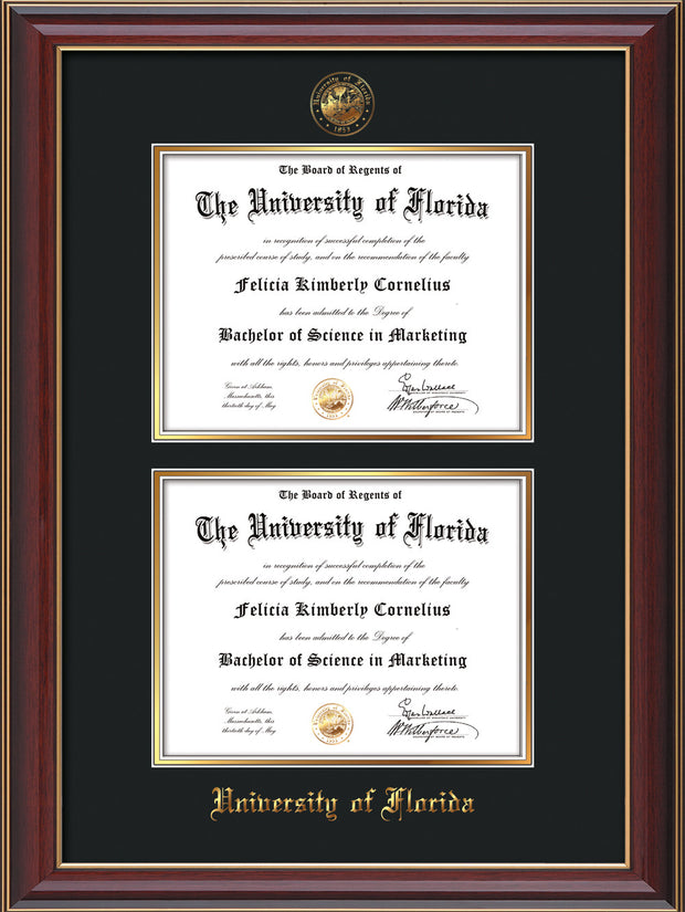 Image of University of Florida Diploma Frame - Cherry Lacquer - w/UF Embossed Seal & Name - Double Diploma - Black on Gold mat