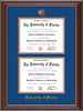 Image of University of Florida Diploma Frame - Cherry Lacquer - w/UF Embossed Seal & Name - Double Diploma - Royal Blue on Orange mat