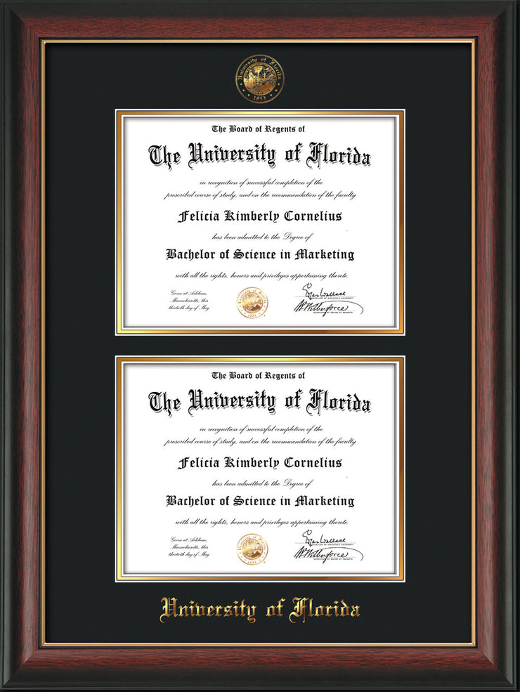 Image of University of Florida Diploma Frame - Rosewood w/Gold Lip - w/UF Embossed Seal & Name - Double Diploma - Black on Gold mat