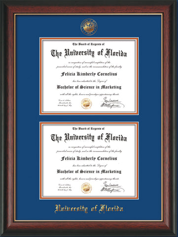 Image of University of Florida Diploma Frame - Rosewood w/Gold Lip - w/UF Embossed Seal & Name - Double Diploma - Royal Blue on Orange mat