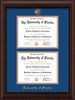 Image of University of Florida Diploma Frame - Mahogany Bead - w/UF Embossed Seal & Name - Double Diploma - Royal Blue on Orange mat
