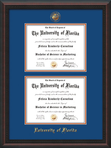Image of University of Florida Diploma Frame - Mahogany Braid - w/UF Embossed Seal & Name - Double Diploma - Royal Blue on Orange mat