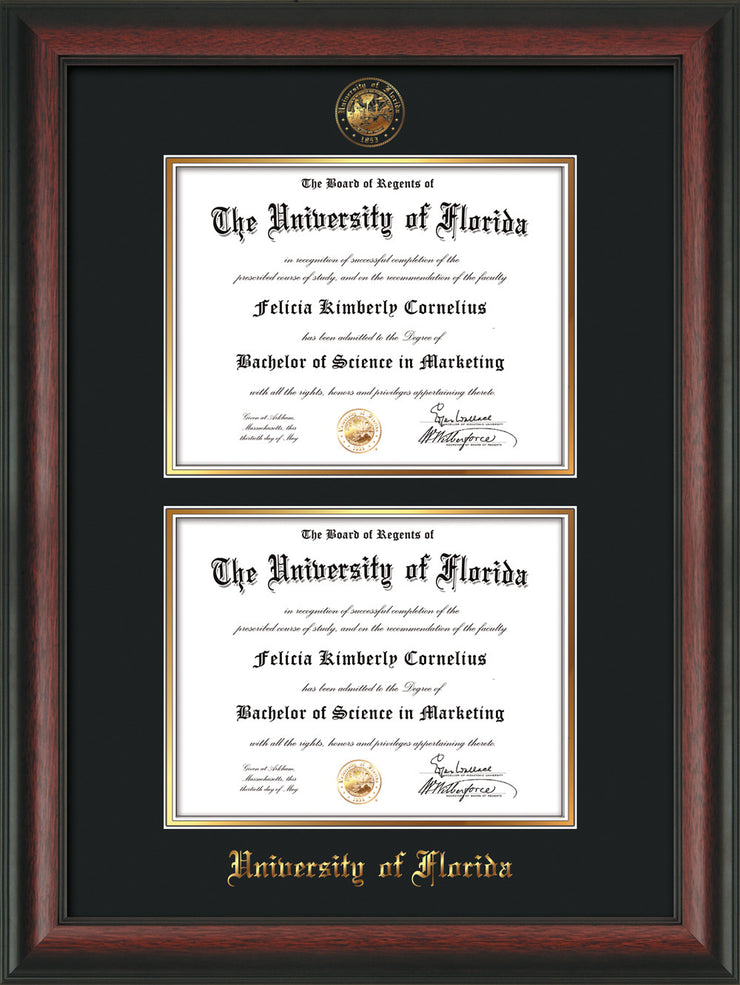 Image of University of Florida Diploma Frame - Rosewood - w/UF Embossed Seal & Name - Double Diploma - Black on Gold mat