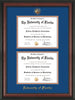 Image of University of Florida Diploma Frame - Rosewood - w/UF Embossed Seal & Name - Double Diploma - Royal Blue on Orange mat