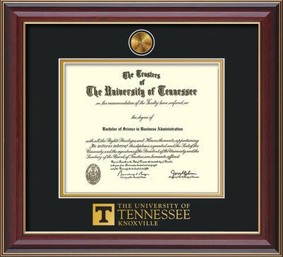 Image of University of Tennessee Diploma Frame - Cherry Lacquer - w/24k Gold Plated Medallion UTK Wordmark Embossing - Black on Gold Mat