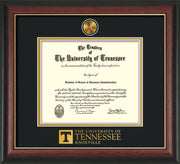 Image of University of Tennessee Diploma Frame - Rosewood w/Gold Lip - w/24k Gold Plated Medallion UTK Wordmark Embossing - Black on Gold Mat