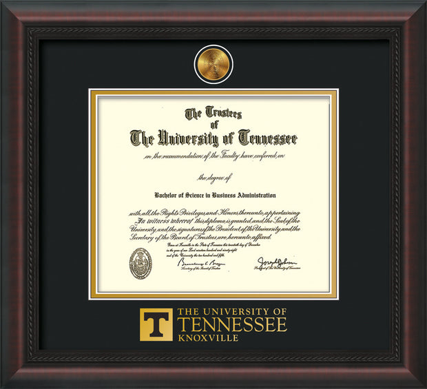 Image of University of Tennessee Diploma Frame - Mahogany Braid - w/24k Gold Plated Medallion UTK Wordmark Embossing - Black on Gold Mat