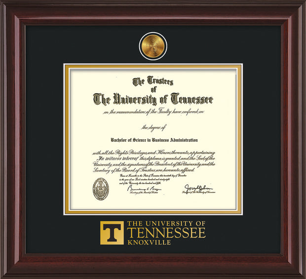 Image of University of Tennessee Diploma Frame - Mahogany Lacquer - w/24k Gold Plated Medallion UTK Wordmark Embossing - Black on Gold Mat