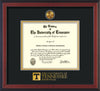 Image of University of Tennessee Diploma Frame - Cherry Reverse - w/24k Gold Plated Medallion UTK Wordmark Embossing - Black on Gold Mat