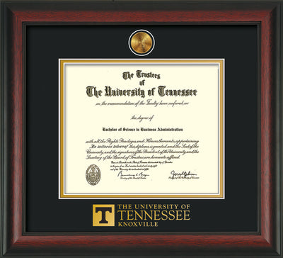 Image of University of Tennessee Diploma Frame - Rosewood - w/24k Gold Plated Medallion UTK Wordmark Embossing - Black on Gold Mat