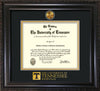 Image of University of Tennessee Diploma Frame - Vintage Black Scoop - w/24k Gold Plated Medallion UTK Wordmark Embossing - Black on Gold Mat