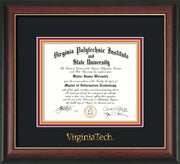 Image of Virginia Tech Diploma Frame - Rosewood w/Gold Lip - w/Embossed VT Wordmark Only - Black on Maroon on Orange mat