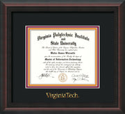 Image of Virginia Tech Diploma Frame - Mahogany Braid - w/Embossed VT Wordmark Only - Black on Maroon on Orange mat